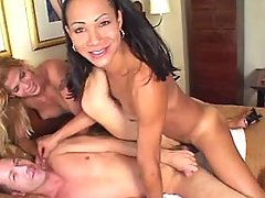 Brunette n blonde shemales fuck guy