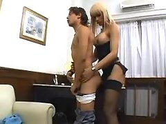 Glamour blonde shemale seducing guy