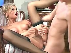 Naughty blonde shemale enjoys anal