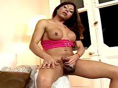 Latina ladyboy shakes her cock