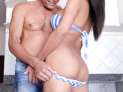 The sexy tgirl May Lin takes dick!