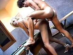 Skinny blond shemale drilled by man