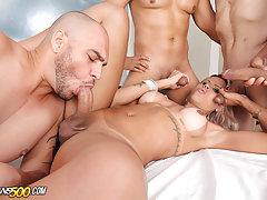 Watch sexy TS Rafaella Ferrari take her first gangbang!